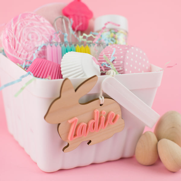 Personalized Wooden  Acrylic Easter Bunny Name Tags | Customized Name Tags | Basket Tags | Gift Tags | Easter