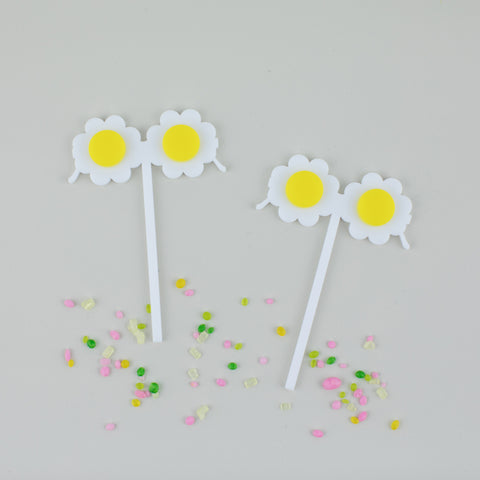Daisy Sunglasses Cupcake Toppers, 6 count