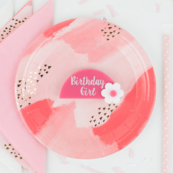 Girls Personalized Acrylic Birthday Name Tag