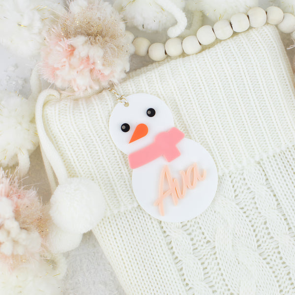 Snowman Personalized Acrylic Hang Tag