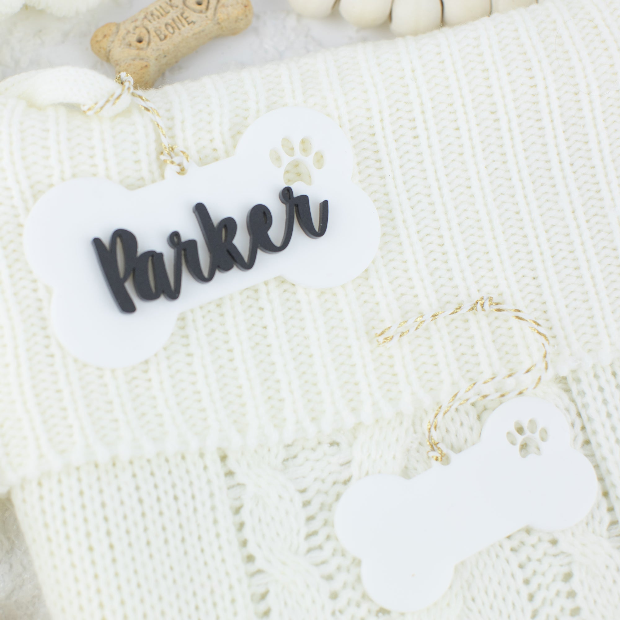 Dog Bone Acrylic Hang Tag and Bonus Ornament