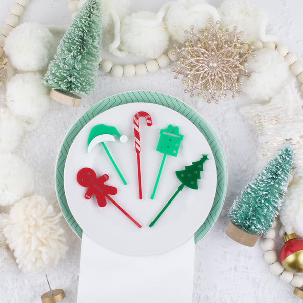 Assorted Christmas Custom Cupcake Toppers, 6 Count