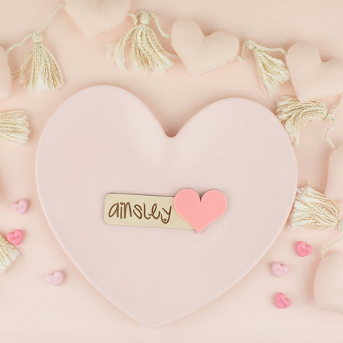 Wood and Heart - Personalized Place Card