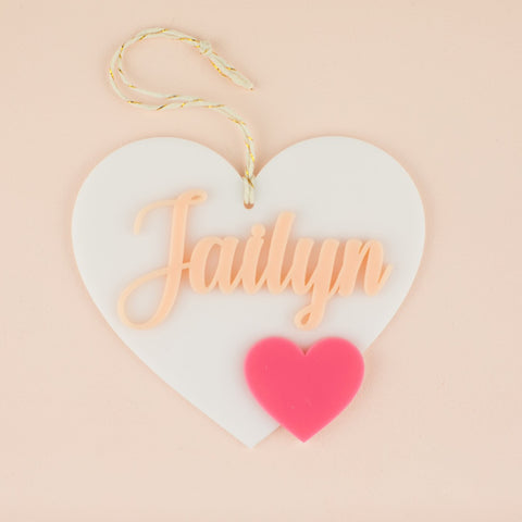 Personalized Dual Heart Acrylic Hang Tag