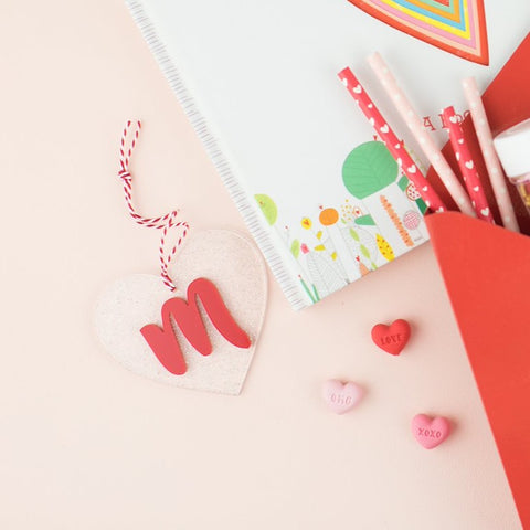 Glitter Heart Letter Hang Tags
