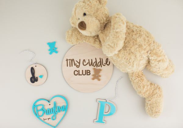 Tiny Cuddle Club Wood & Acrylic Round Sign