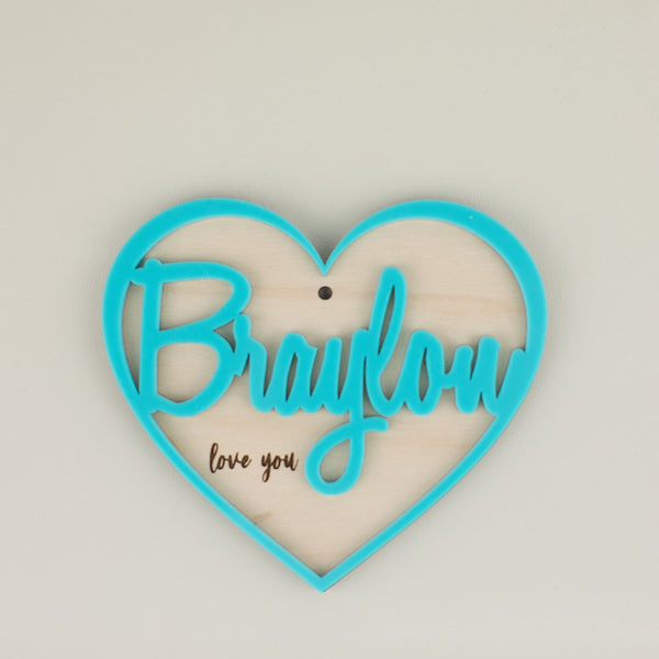 Personalized Acrylic Hang Tag - Wood & Acrylic Heart