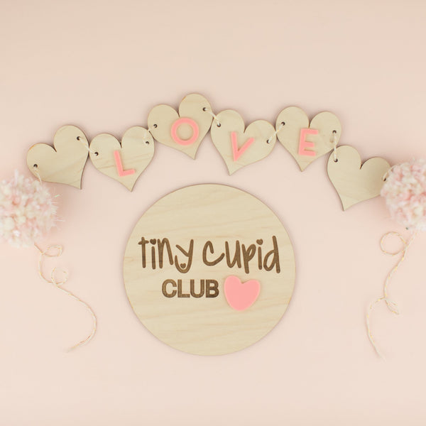 Tiny Cupid Club Wood & Acrylic Round Sign