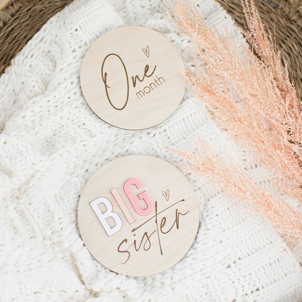 Big Sister Wood & Acrylic Round Sign