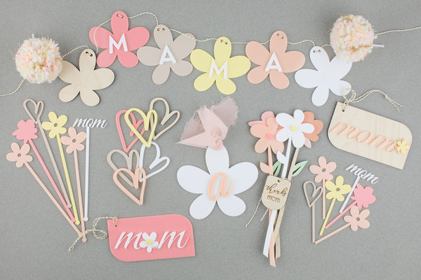 Assorted Flowers - Wood or Acrylic with Gift Tag