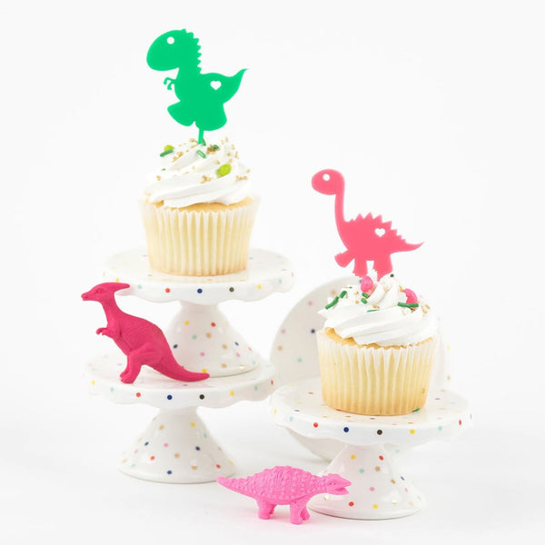Dino Girl Acrylic Cupcake Toppers - Set of 6