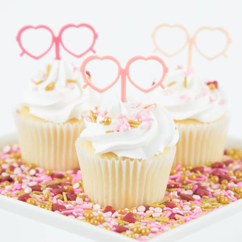 Heart Sunglasses Cupcake Toppers, 6 count