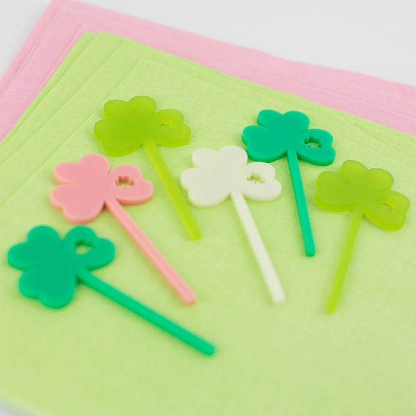 Shamrock Cupcake Toppers, ST. Patricks Day Party, Cupcake Toppers Laser Cut, Acrylic, 6 Ct.
