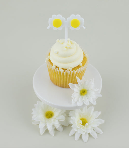 Daisy Sunglasses Cupcake Toppers, Mother's Day Party, Cupcake Toppers Laser Cut, Acrylic, 6 Ct.