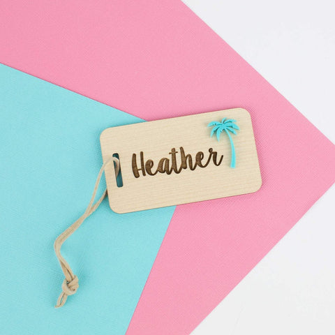 Wood & Acrylic Custom Luggage Tag - Personalized luggage tag - Travel Lovers Tag - Custom Personalized Luggage Tags
