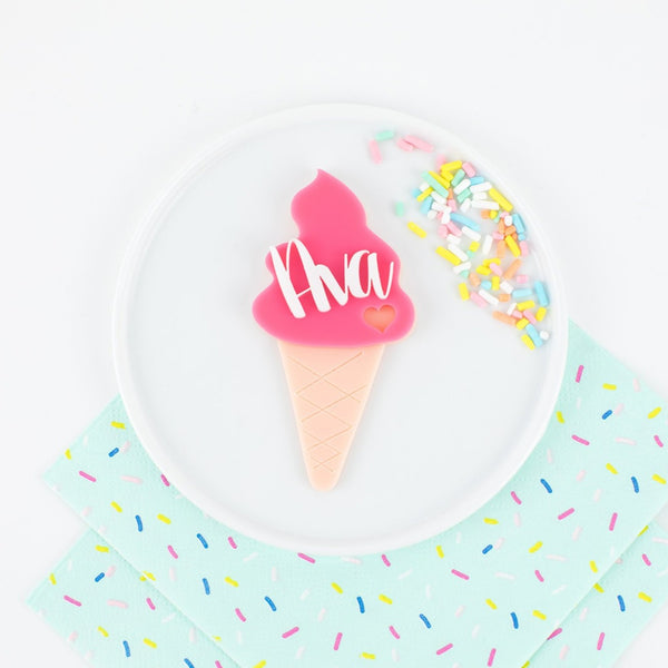 Ice Cream Mini Party Kit - 6 Ct. Stir Sticks - Cupcake Toppers - Cake Topper - Card - Name Place Card Settings - Acrylic - Ice Cream Party