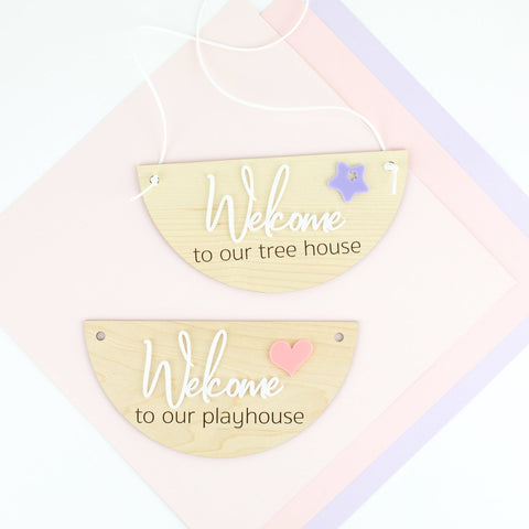 Personalized Playhouse Wood & Acrylic Sign
