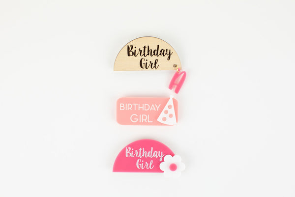 Girls Personalized Birthday Name Tag, Acrylic Tag, Birthday Name Tag, Name Tag, Magnetic Name Tag, Kids Name Tag, Mother's Day Day
