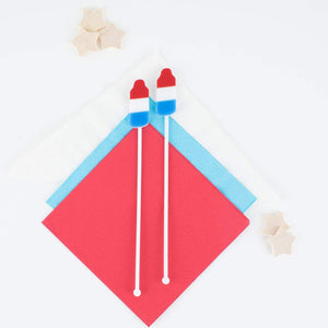 Bomb Pop Stir Sticks, Swizzle Sticks, Custom Drink Stirrers, Party Favors, Patriotic, Red White Blue Stars, Independence Day Party