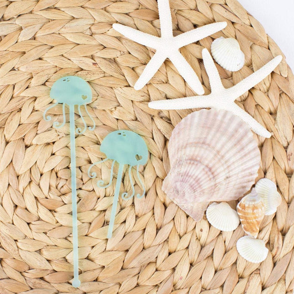 Jellyfish Cupcake Toppers, 6 count, Custom Cupcake Toppers, Party Favors, Mermaid Party, Seashell, Sea Party, Cupcake Toppers