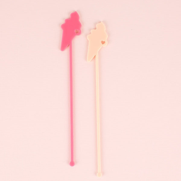 Ice Cream  Stir Sticks, Swizzle Sticks, Drink Stirrers Laser Cut, Acrylic, 6 Ct. - Ice Cream Party - Summer Party - Ice Cream