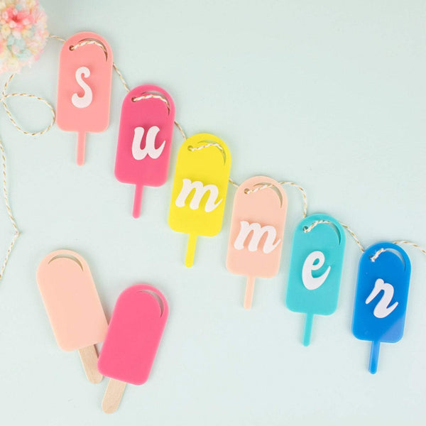 Summer Acrylic Popsicle Garland - Acrylic Sign - Popsicle Garland - Summer Party Theme - Popsicle - Garland - Home Decor