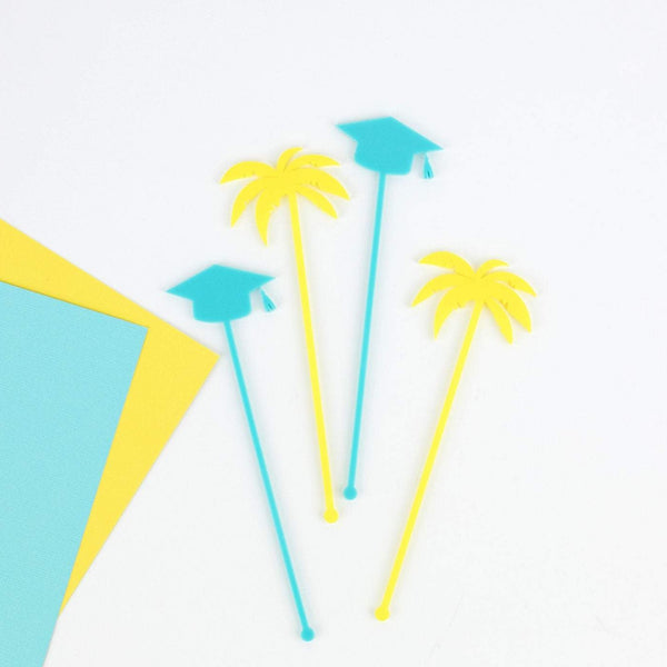 Palm & Graduation Cap Stir Sticks, 6 count
