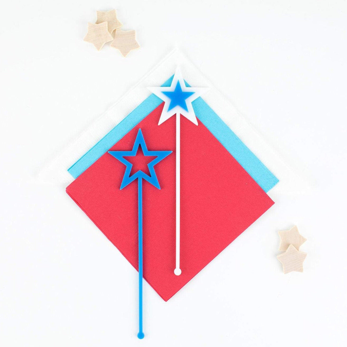 4th of July Stir Sticks, Swizzle Sticks, Custom Drink Stirrers, Party Favors, Patriotic, Red White Blue Stars, Independence Day Party