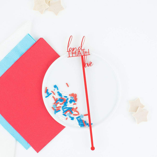 Land That I Love Stir Sticks, Swizzle Sticks, Custom Drink Stirrers, Party Favors, Patriotic, Red White Blue Stars, Independence Day Party