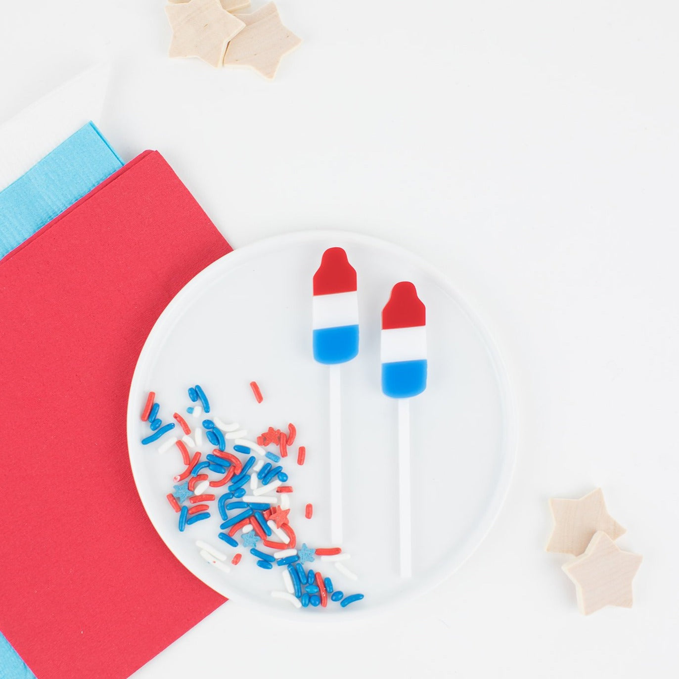 Bomb Pop Toppers, Custom Cupcake Toppers, Party Favors, Patriotic, Red White Blue Stars, Independence Day Party, Cupcake Toppers