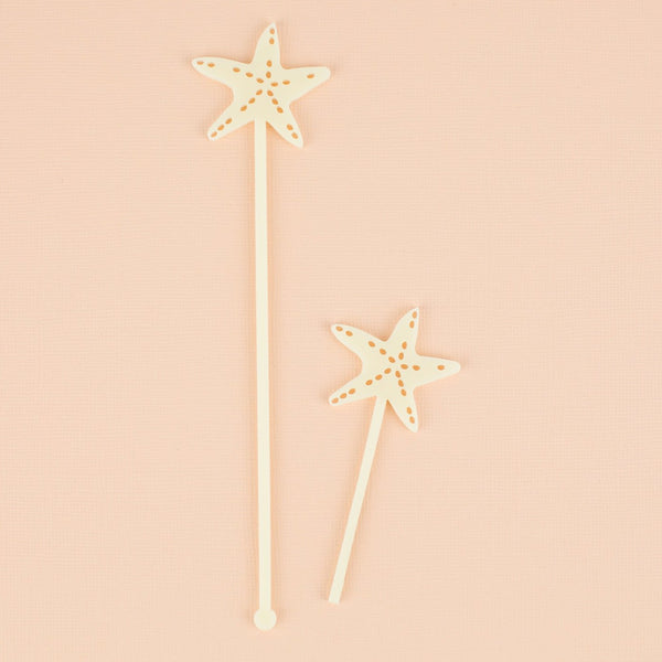 Starfish Cocktail Stir Sticks, Swizzle Sticks, Drink Stirrers Laser Cut, Acrylic, 6 Ct. - Summer Party - Seashell - Mermaid Theme