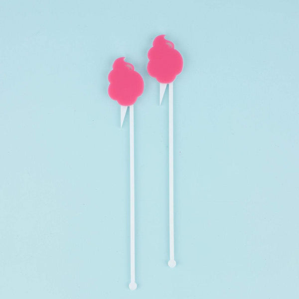 Cotton Candy Stir Sticks, Swizzle Sticks, Drink Stirrers Laser Cut, Acrylic, 6 Ct. - Cotton Candy Party - Dessert Station - Cotton Candy