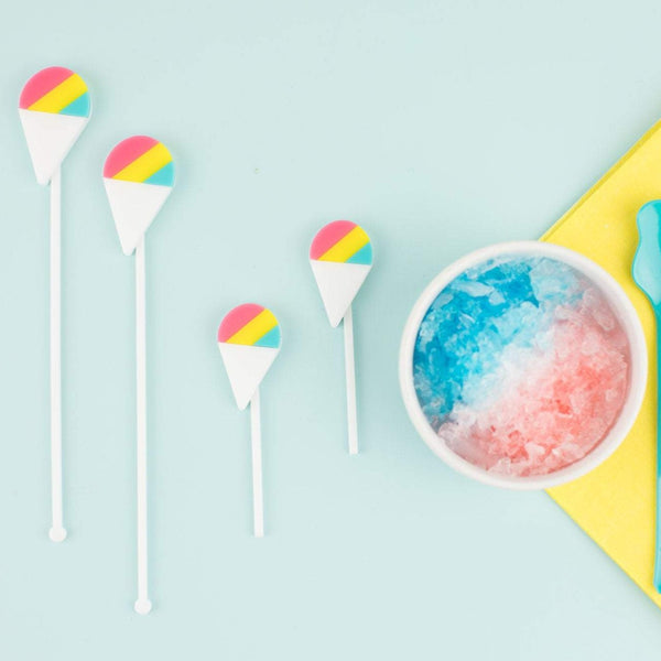 Snow Cone Stir Sticks, Swizzle Sticks, Drink Stirrers Laser Cut, Acrylic, 6 Ct. - Snow Cone Party - Dessert Station - Snow Cones