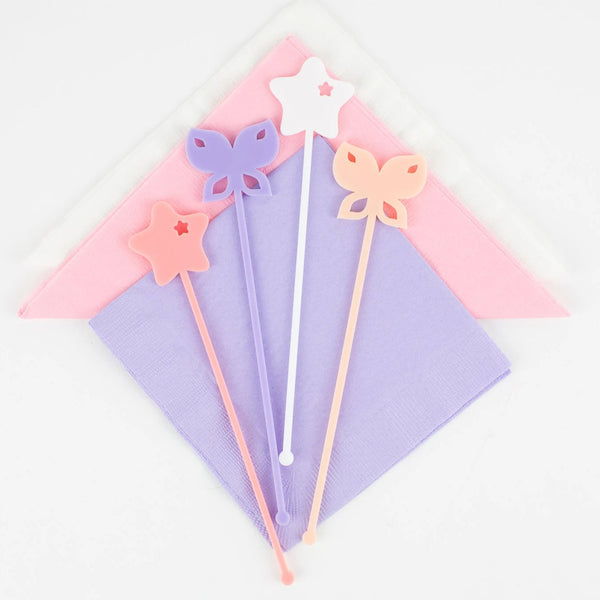 Fairytale Cocktail Stir Sticks, Swizzle Sticks, Drink Stirrers Laser Cut, Acrylic, 4 Ct. - Magical Party - Birthday - Fairytale Party