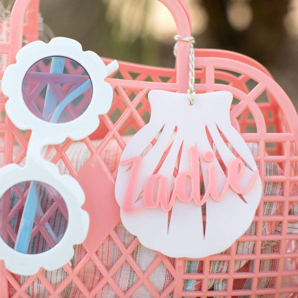 Seashell Personalized Acrylic Tags | Hang Tag | Customized Hang Tags | Gift Tags | Summer Bag Tags | Bag Tags | Beach Tags | Seashell