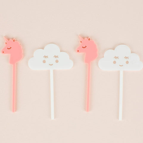 Unicorn & Cloud Cupcake Toppers, 6 count