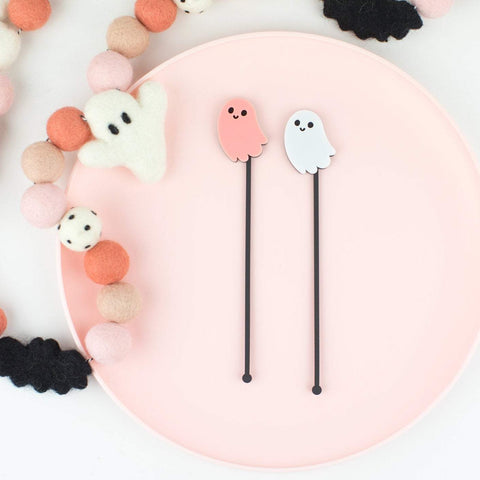 Ghost 2 Layer Stir Sticks, Swizzle Sticks, Drink Stirrers Laser Cut, Acrylic, 6 Ct. - Halloween Party - Ghost Party - Birthday - Halloween
