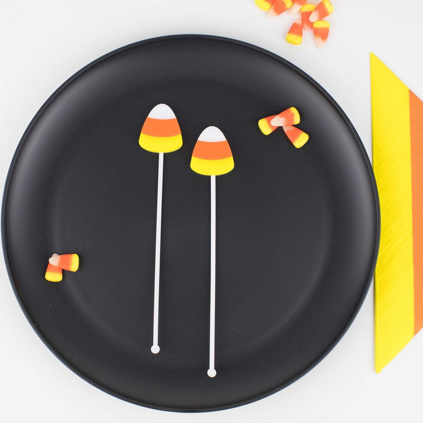Candy Corn Stir Sticks, Swizzle Sticks, Drink Stirrers Laser Cut, Acrylic, 6 Ct. - Halloween Party - Candy Corn Party - Birthday - Halloween