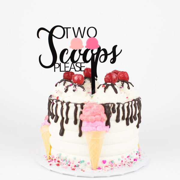 Two Scoops Please Cake Topper