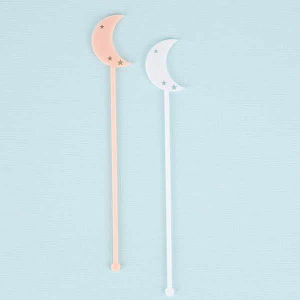Half Moon Stir Sticks, Swizzle Sticks, Drink Stirrers Laser Cut, Acrylic, 6 Ct. - Moon Party - Stars Party - Birthday - Moon & Stars