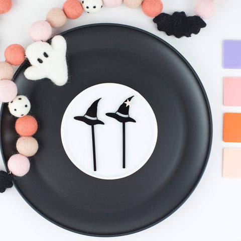 Witches Hat Cupcake Toppers, 6 count, Custom Cupcake Toppers, Party Favors, Halloween Party, Witches Hat, Witches Party, Cupcake Toppers