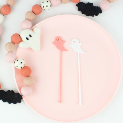 Ghost Stir Sticks, Swizzle Sticks, Drink Stirrers Laser Cut, Acrylic, 6 Ct. - Halloween Party - Ghost Party - Birthday - Halloween