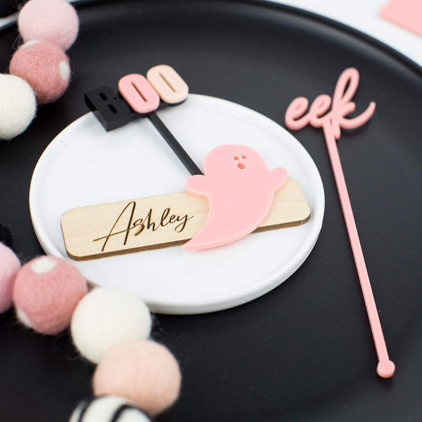 Ghost Personalized Wooden & Acrylic Place Cards