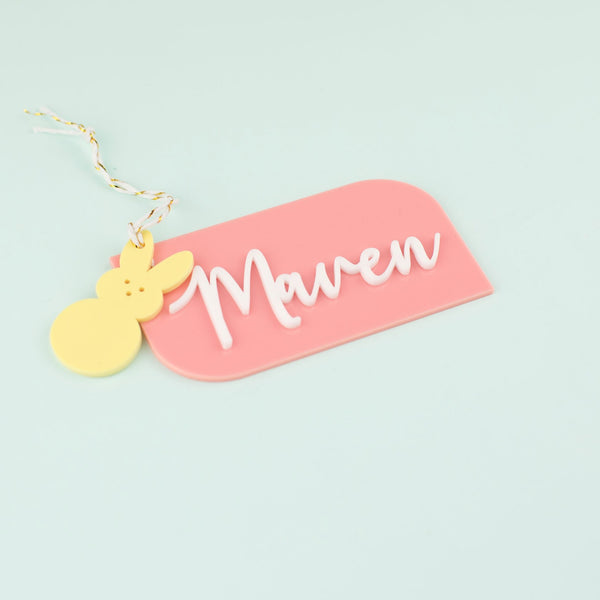 Slanted with Bunny - Personalized Acrylic Hang Tag