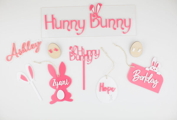 Single Bunny Ear Cupcake or Small Cake Topper