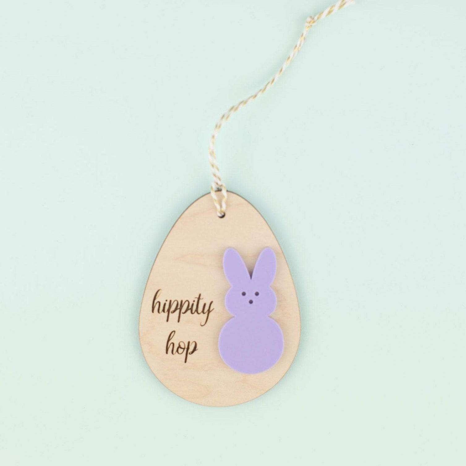 Wooden Hippy Hop Egg and Acrylic Bunny Name Tag