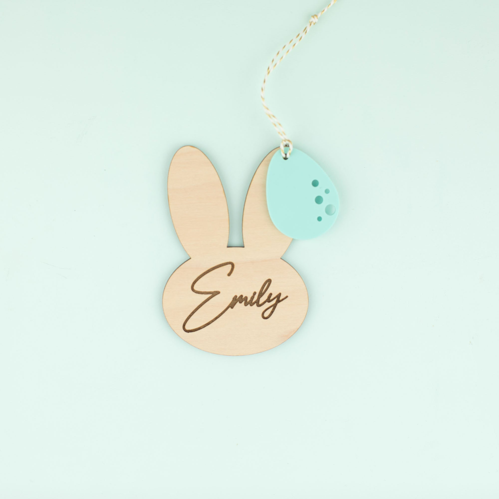 Personalized Wooden Bunny with Acrylic Egg Name Tag | Customized Name Tags | Basket Tags | Gift Tags | Easter