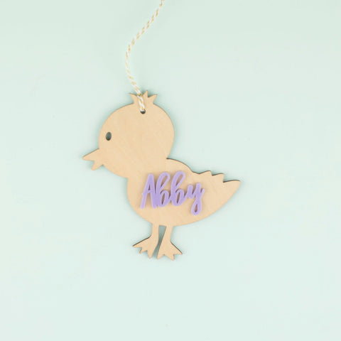 Wooden Chick and Acrylic Name Tag