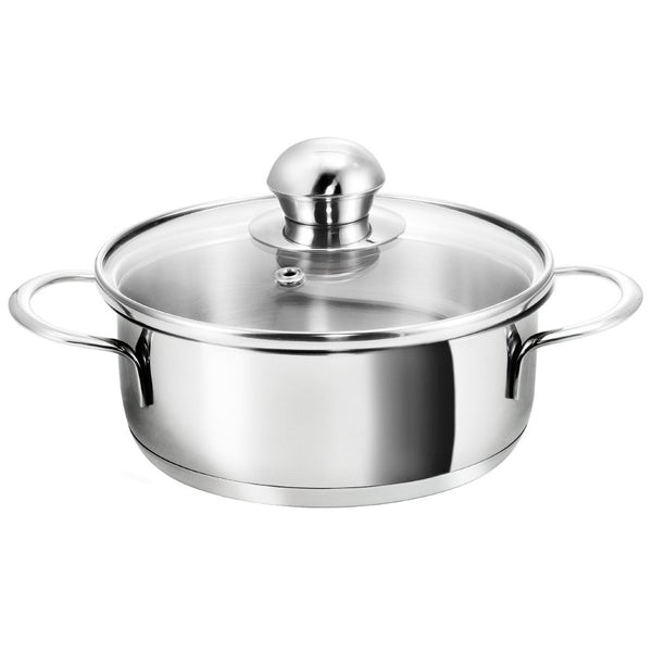 "36154 16CM不銹鋼煲連玻璃蓋(雙耳)16CM(6"") STAINLESS STEEL POT WITH GLASS LID (DOUBLE EAR) (=36830)"