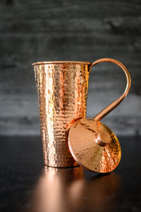 Hammered Copper Pitcher with Top